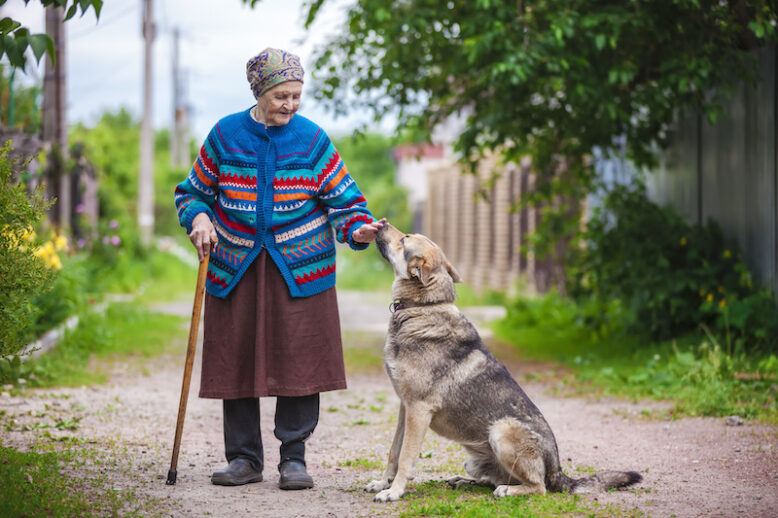 old woman and her dog