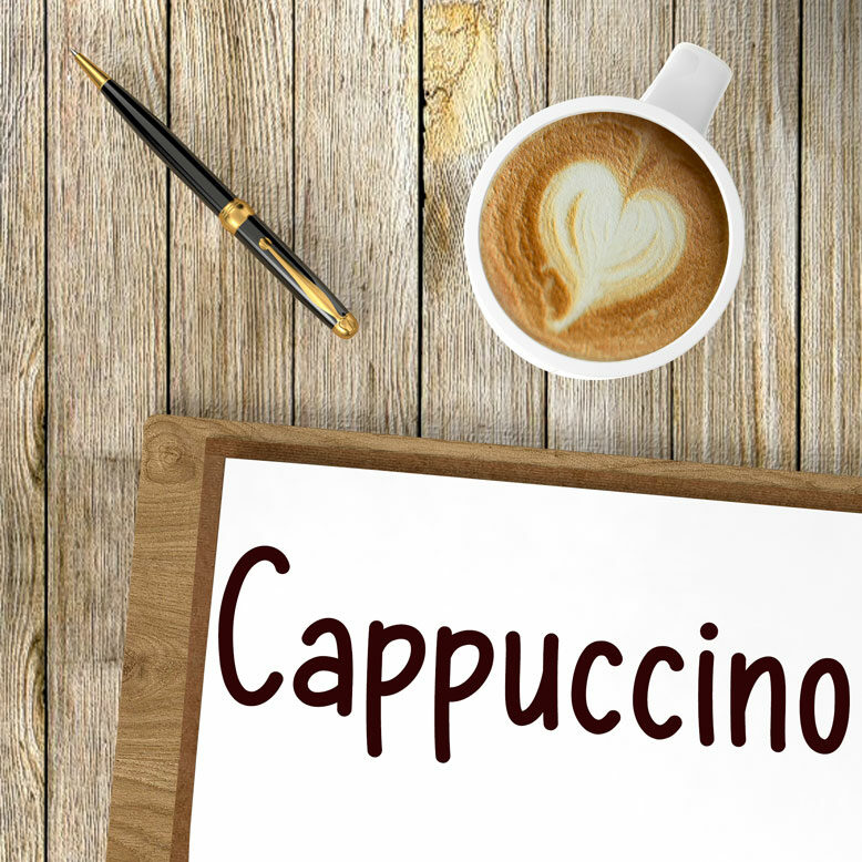 """cover image with the word """"cappuccino"""" written on a notepad next to a cappuccino coffee"""
