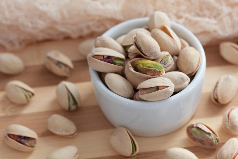 Roasted pistachios with sea salt.