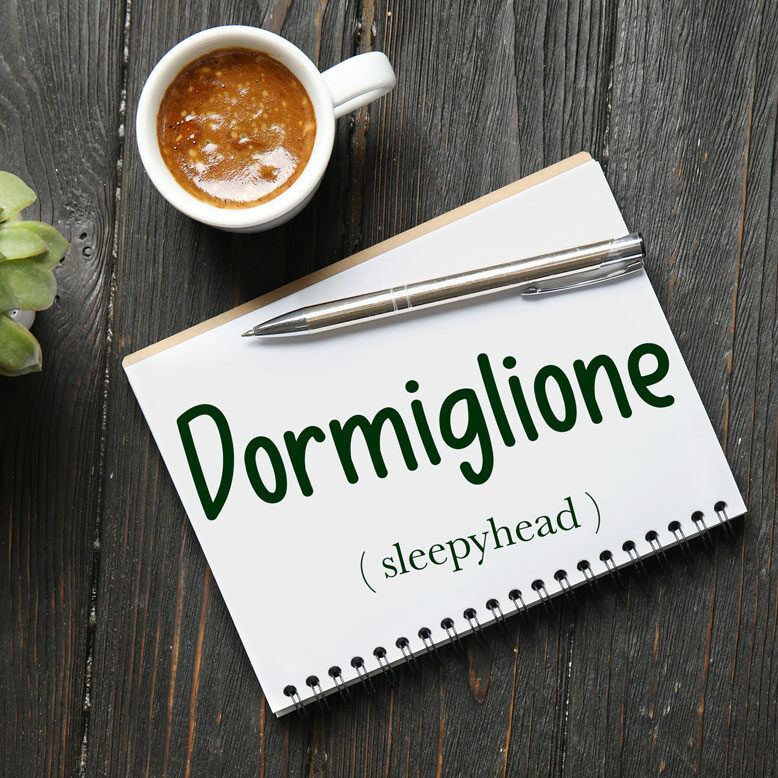 """cover image with the word """"dormiglione"""" and its translation written on a notepad next to a cup of cofee"""