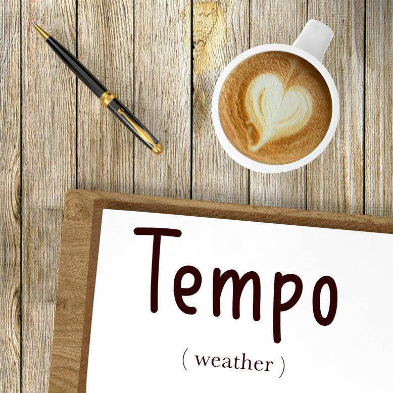 """cover image with the word """"tempo"""" and its translation written on a notepad next to a cup of cofee"""