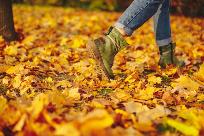 Leather shoes walking on fall leaves Outdoor with Autumn season nature on background