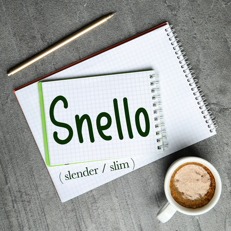"""cover image with the word """"snello"""" and its translation written on a notepad next to a cup of cofee"""