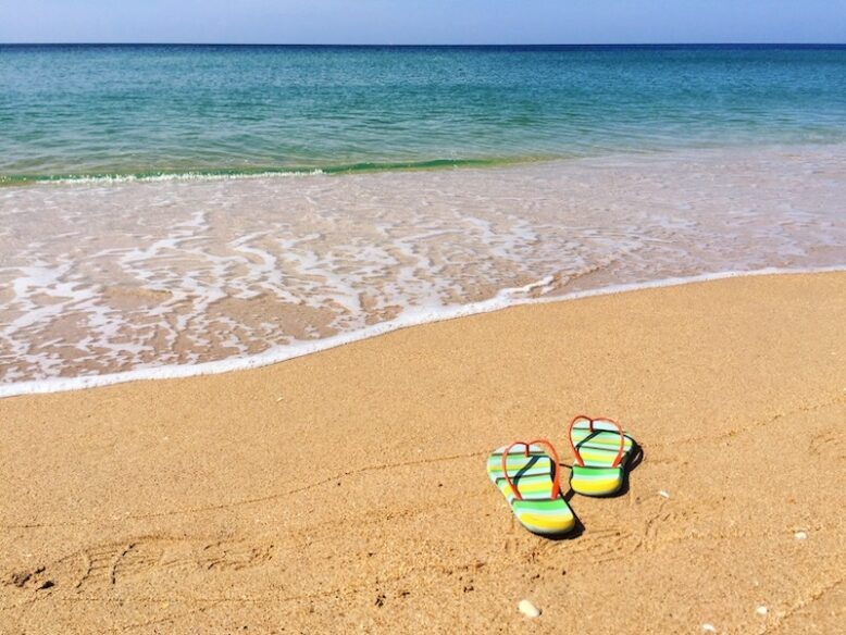 flipflops on a sunny beach