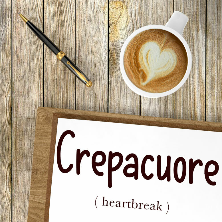 """cover image with the word """"crepacuore"""" and its translation written on a notepad next to a cup of cofee"""
