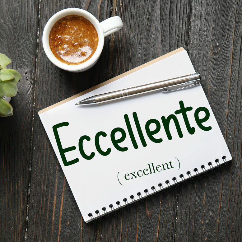 """cover image with the word """"eccellente"""" and its translation written on a notepad next to a cup of cofee"""
