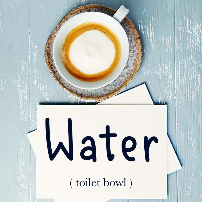 """cover image with the word """"water"""" and its translation written on a notepad next to a cup of cofee"""