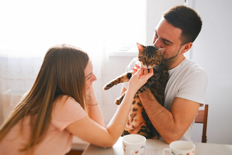 young couple having breakfast and drinking tea in the kitchen. a young man hugs a cat, a girl caresses a cat. everyone has fun