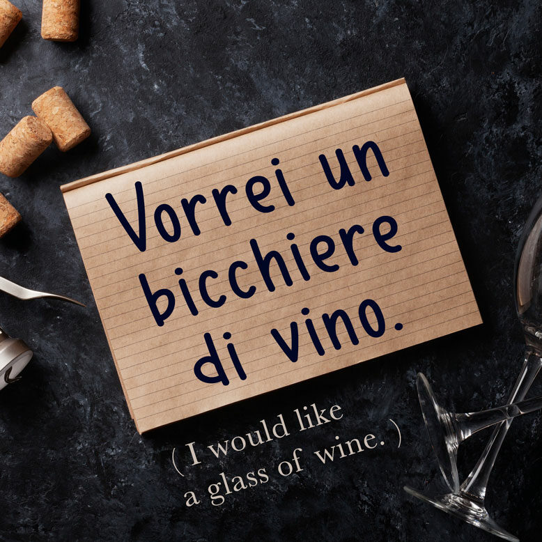 cover image with the Italian phrase and its translation written on a notepad