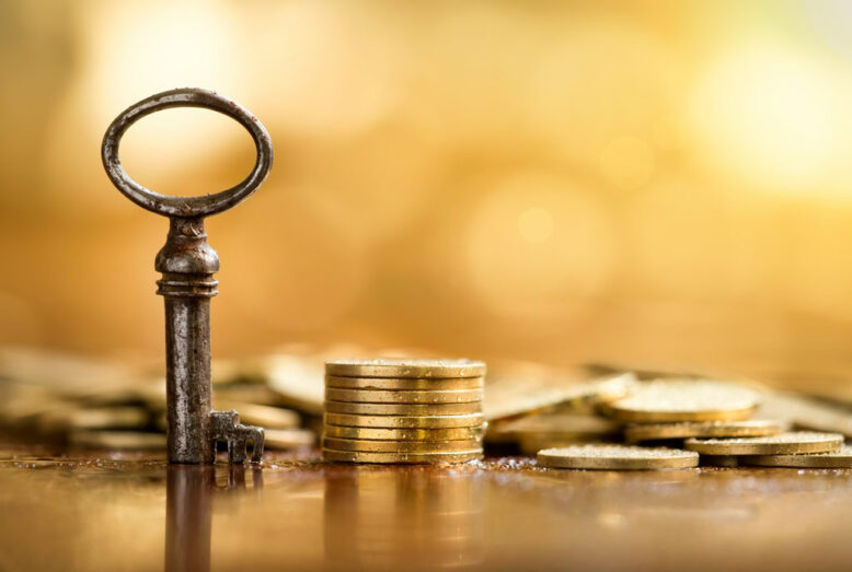 Business success concept - website banner of key and money coins